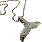 Sterling Silver 925 Whale Tail Pendant on Beaded Chain Italy
