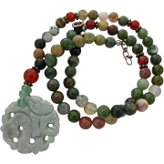 Multi-Color Gemstone Bead Necklace with Carved Jade Dangle Sterling Clasp