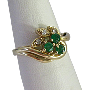 SALE 10K Gold Emerald and Diamond Ring