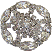 SALE Kramer New York Dazzling Clear Rhinestone Brooch Concave Design