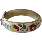 Silver and Enamel Hinged Bangle Bracelet Floral Design