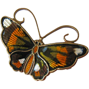 David Andersen Norway Gilt Sterling and Enamel Butterfly Pin