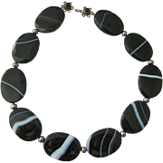 Banded Agate Oval Disk Necklace Gray Pearl Spacers Sterling Clasp