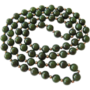 Green Gemstone and Sterling Silver 925 Bead Necklace 30 Inches Endless