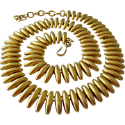 Gold Tone Cleopatra Style Necklace Signed Monet Matte Finish