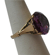 SALE Huge 14K Gold Purple Sapphire Ring Color Changing