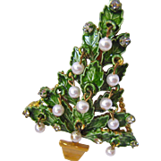 Original By Robert Christmas Tree Pin Brooch Enamel Rhinestones Faux Pearl Dangles