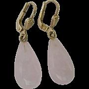 8K Gold Lever Back Earrings with Pale Rose Quartz Drop