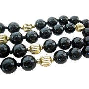 Black Onyx & Gold Filled Bead Necklace Hand Knotted & Endless 33 Inches