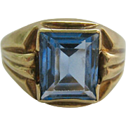 10K Blue Spinel Art Deco Ring Unisex Signed