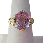 14K Gold Kunzite Ring Size 8
