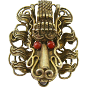 Gilt Silver Dragon Head Brooch 3-Dimensional Probably Chinese