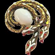 Triple Serpent Brooch Signed ART Gold Tone Enamel