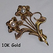 Vintage 10K Karat Gold and Pearl Floral Brooch Pin Signed JMS