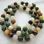 Earthy Gemstone Bead & Glass Necklace Gold Filled Clasp