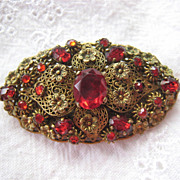 Vintage Filigree Floral Layered Brooch Red Rhinestones Probably Czech