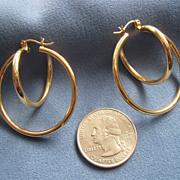 SALE 14K Gold Loop within Loop Earrings Large