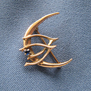 10K Gold Victorian Pin Brooch Signed E.A. Bliss Moon Wishbone
