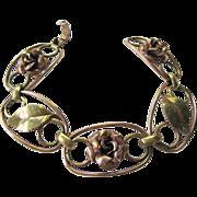 SALE Krementz Gold Plate Floral Foliate Link Bracelet Two Tone