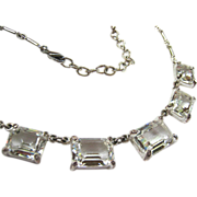 Silver Tone Necklace Clear Graduated Rectangular Stones