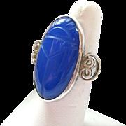 Sterling Silver 925 Gemstone Scarab Ring Large