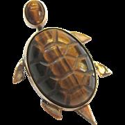 12K Gold Filled Tiger Eye Turtle Pin Brooch Signed