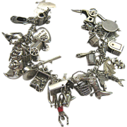 SALE Vintage Sterling Silver 925 Charm Bracelet 39 Charms