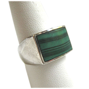 SALE Vintage Sterling Silver 925 Malachite Gents Ring