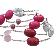 Fuchsia Jade Rose Quartz and Wedding Cake Bead Necklace Sterling Silver with Tassel