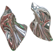 Sterling Silver 925 Molten Crinkle Design Earrings Large