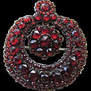 Rose Cut Garnet Brooch with Center Dangle Stunning