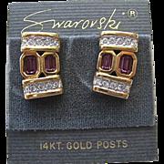 SALE Swarovski Clear Lavender Crystal Post Earrings 14K Post Original Card