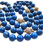 Blue Gemstone Bead Gold Filled Stations Necklace Hand Knotted 33 Inches