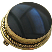 Danecraft Black Onyx Gold Filled Mourning Pin Brooch
