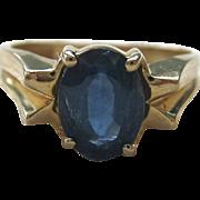 14K Gold Sapphire Ring Modernist Design