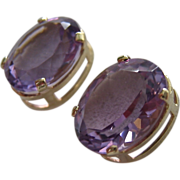 SOLD 14K Gold Amethyst Post Earrings