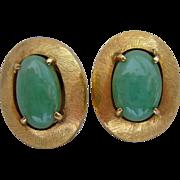 14K Gold Jade Jadeite Screw Back Earrings