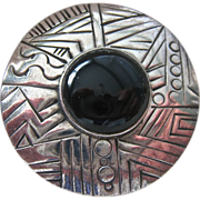 Sterling Silver 925 Round Geometric Etched Pin Brooch Black Stone Center Signed