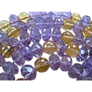Stunning Faceted Amethyst Citrine Quartz Gemstone Necklace 14K Clasp Over 43 Inches Long