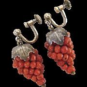 835 Silver Coral Bead Grape Cluster Leaves Earrings