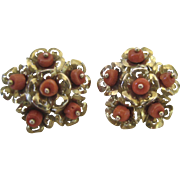 Gold & Coral Flower Earrings Lever Back 8-9 Karat