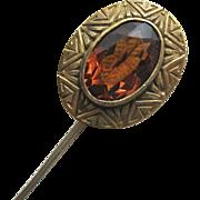 Topaz Paste Stick PIn Signed