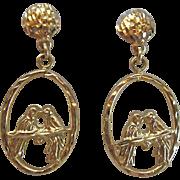 SALE 14K Gold Love Bird Dangle Post Earrings