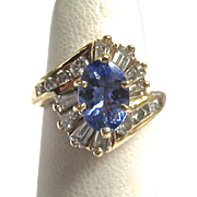 Stunning 14K Gold Tanzanite Diamond Ring Exquisite