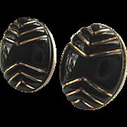 14K Gold Carved Black Onyx Post Earrings Chevron Design