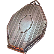 Art Deco Sterling Silver 925 Double Photo Locket Octagonal Signed