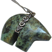 Green Gemstone Carved Bear Sterling Silver 925 Pendant Necklace