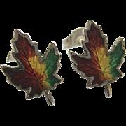 SALE Little Sterling Silver 925 Enamel Maple Leaf Earrings Signed