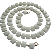 SALE White Milk Glass Chicklet Type Necklace 24 Inches