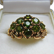 Peridot Cluster Ring 9 Ct Signed CL&S